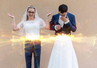 Mann und Frau haben die Unterkörper vertauscht